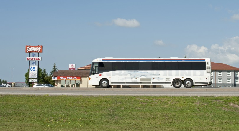 A decommissioned Greyhound bus