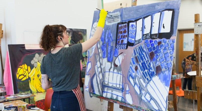 Emily Carr University art student painting