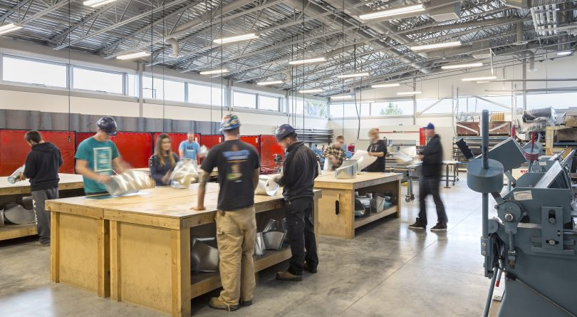 Okanagan College students in a trades workshop