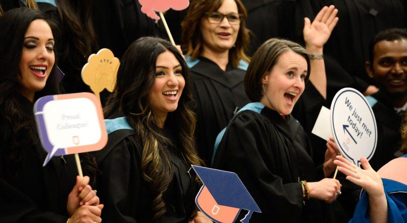 Athabasca University students at convocation