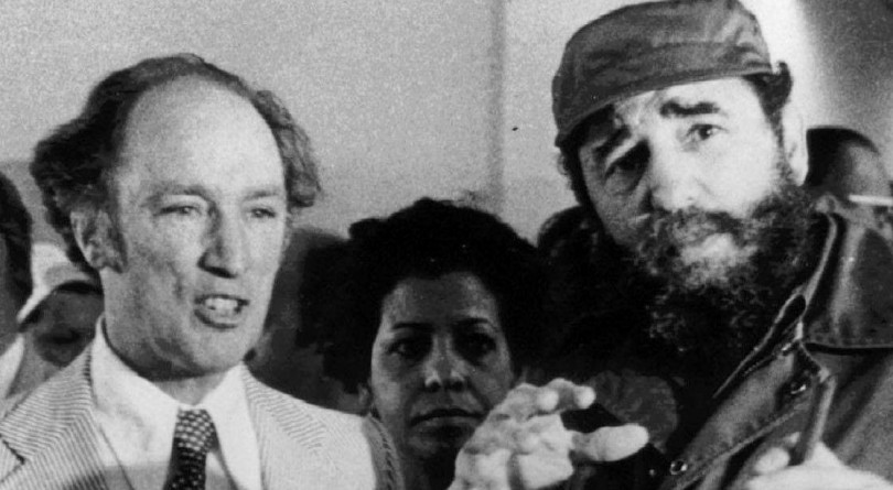 prime minister pierre trudeau looks on as cuban president
