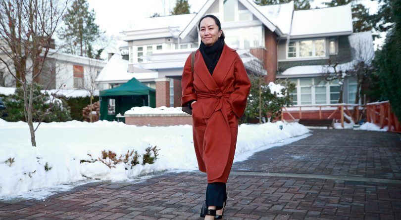 Huawei Technologies Chief Financial Officer Meng Wanzhou leaves her house on her way to a court appearance on January 17, 2020 in Vancouver, Canada. The United States government accused Wanzhou of fraud after HSBC continued trade with Iran while sanctions were in place. (Jeff Vinnick/Getty Images)