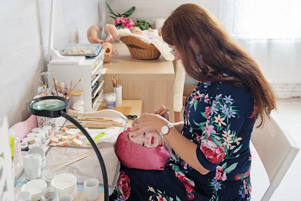Galina Lobashova, in Russia, is a reborn artist in her spare time and sells her dolls worldwide.