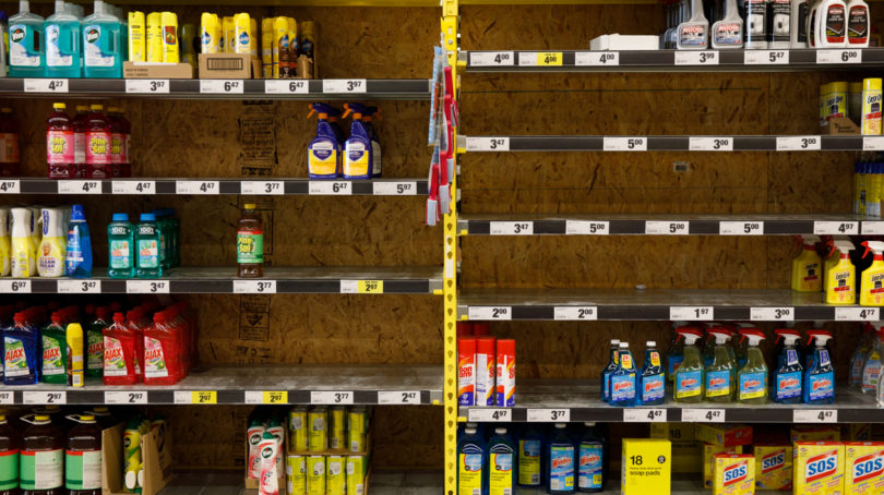 The cleaning products aisle at a No Frills in Toronto (Photograph by Cole Burston)