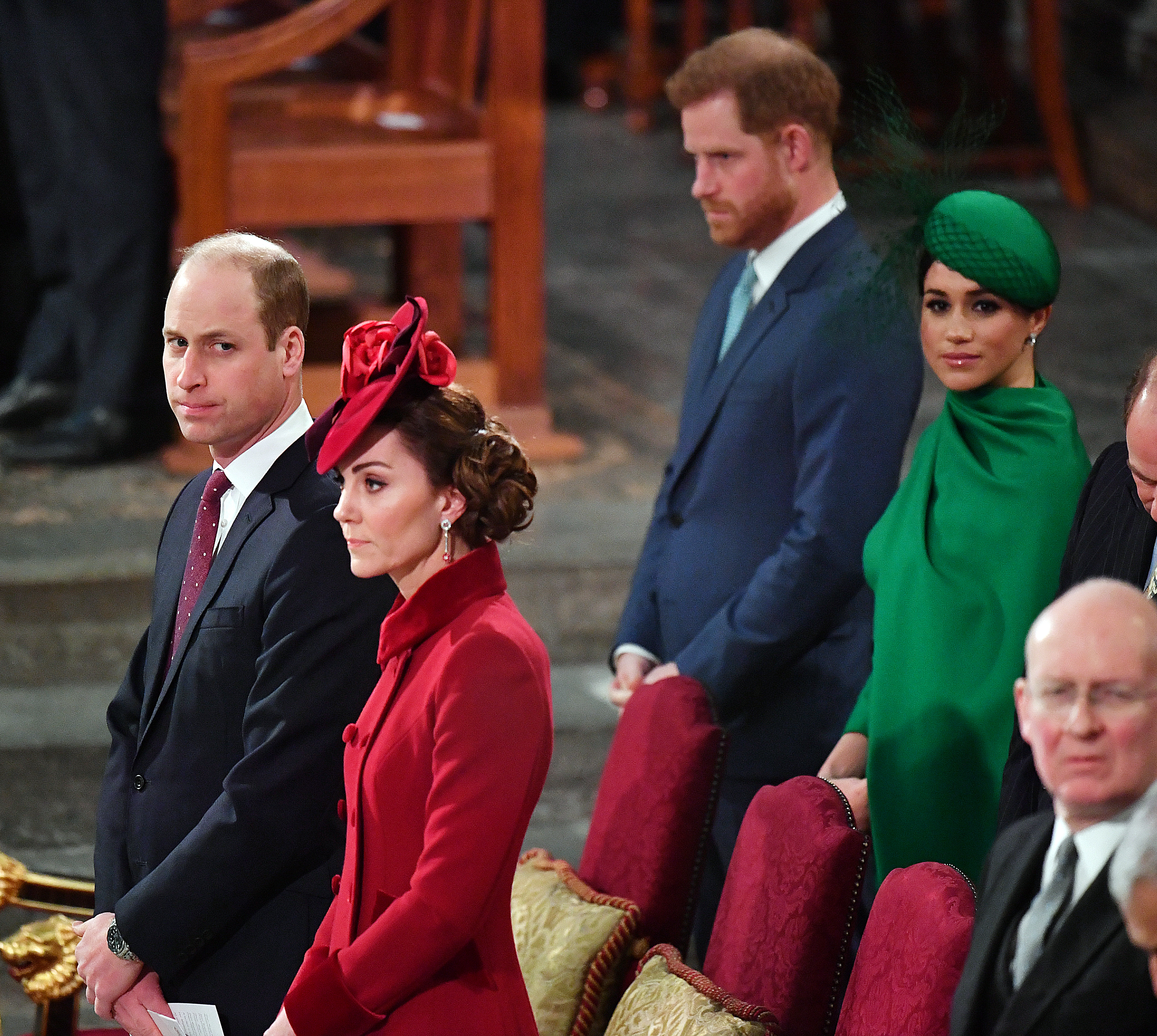 Prince William, Duke of Cambridge, Catherine, Duchess of Cambridge, Prince Harry, Duke of Sussex and Meghan, Duchess of Sussex attend the Commonwealth Day Service 2020 on March 9, in London, England. (Phil Harris/WPA Pool/Getty Images)