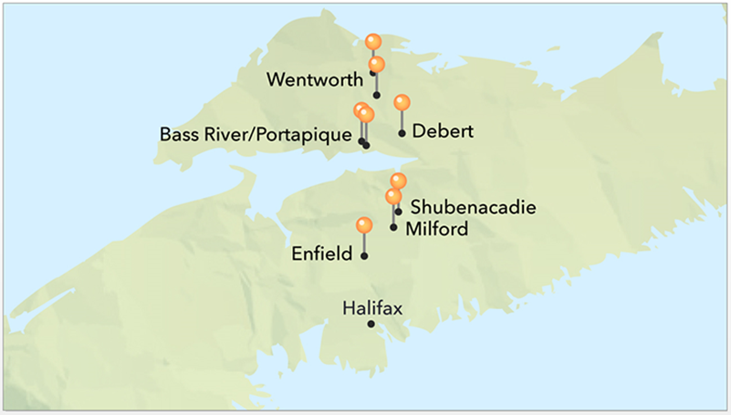 Map of Nova Scotia highlighting the location of Wentworth, Portapique, Debert, Shubenacadie, Milford and Enfield and their proximity to Halifax. (RCMP)