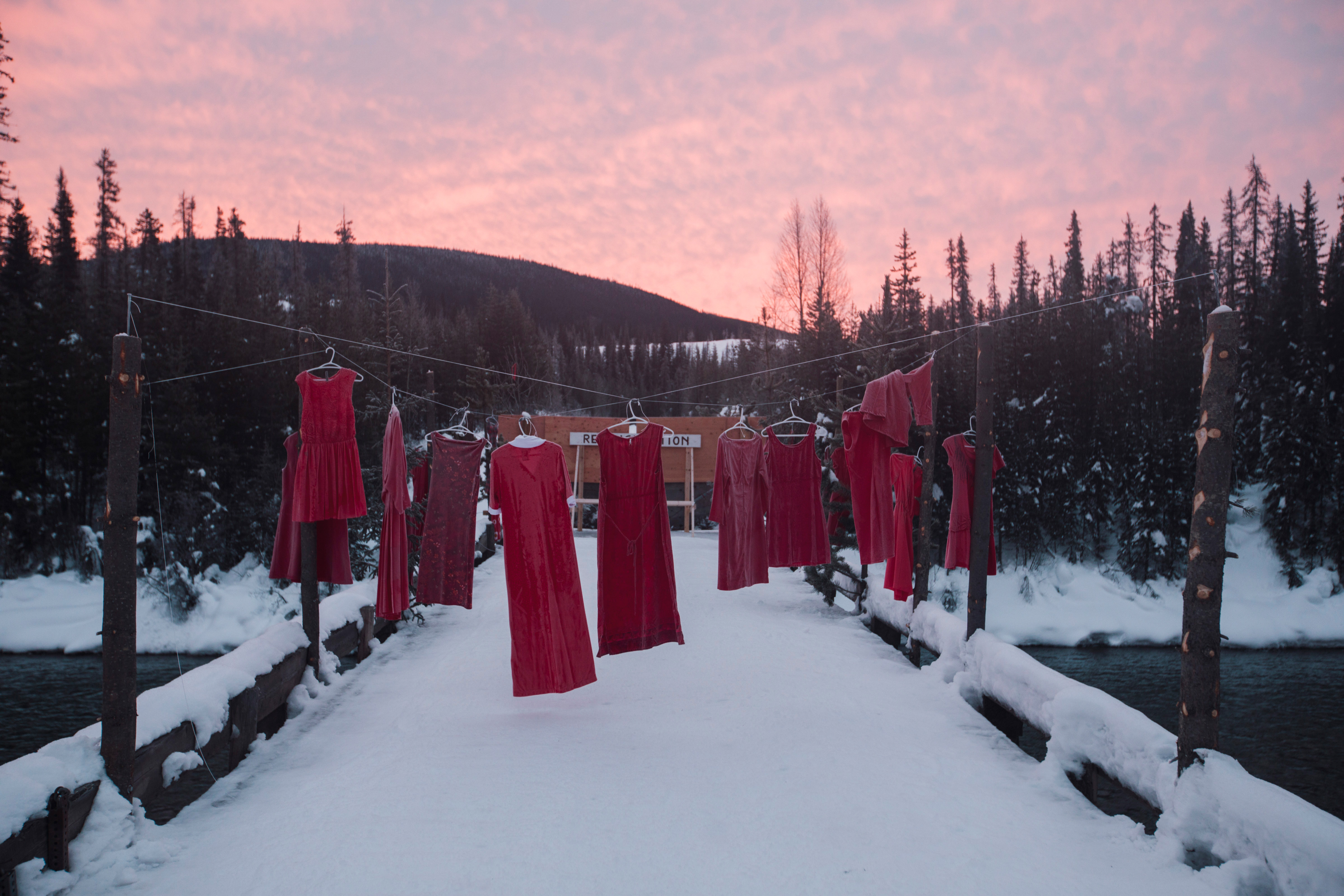 Red dresses, representing murdered and missing Indigenous women (Amber Bracken)