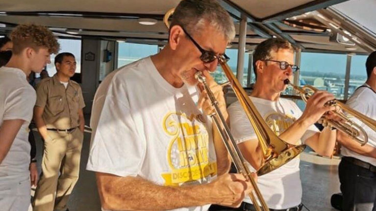 Rick playing the trombone on the Sea Princess cruise ship (Courtesy of Rick Pauzé)