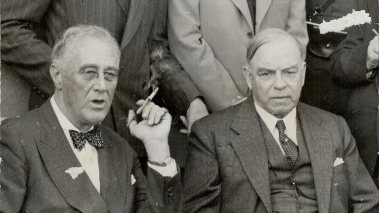 Prime Minister King shown here with President Roosevelt in September 1944. The two leaders took part in a press conference confirming that Canada will be a partner in the coming undertakings against Japan (Toronto Star Archives/Getty Images)