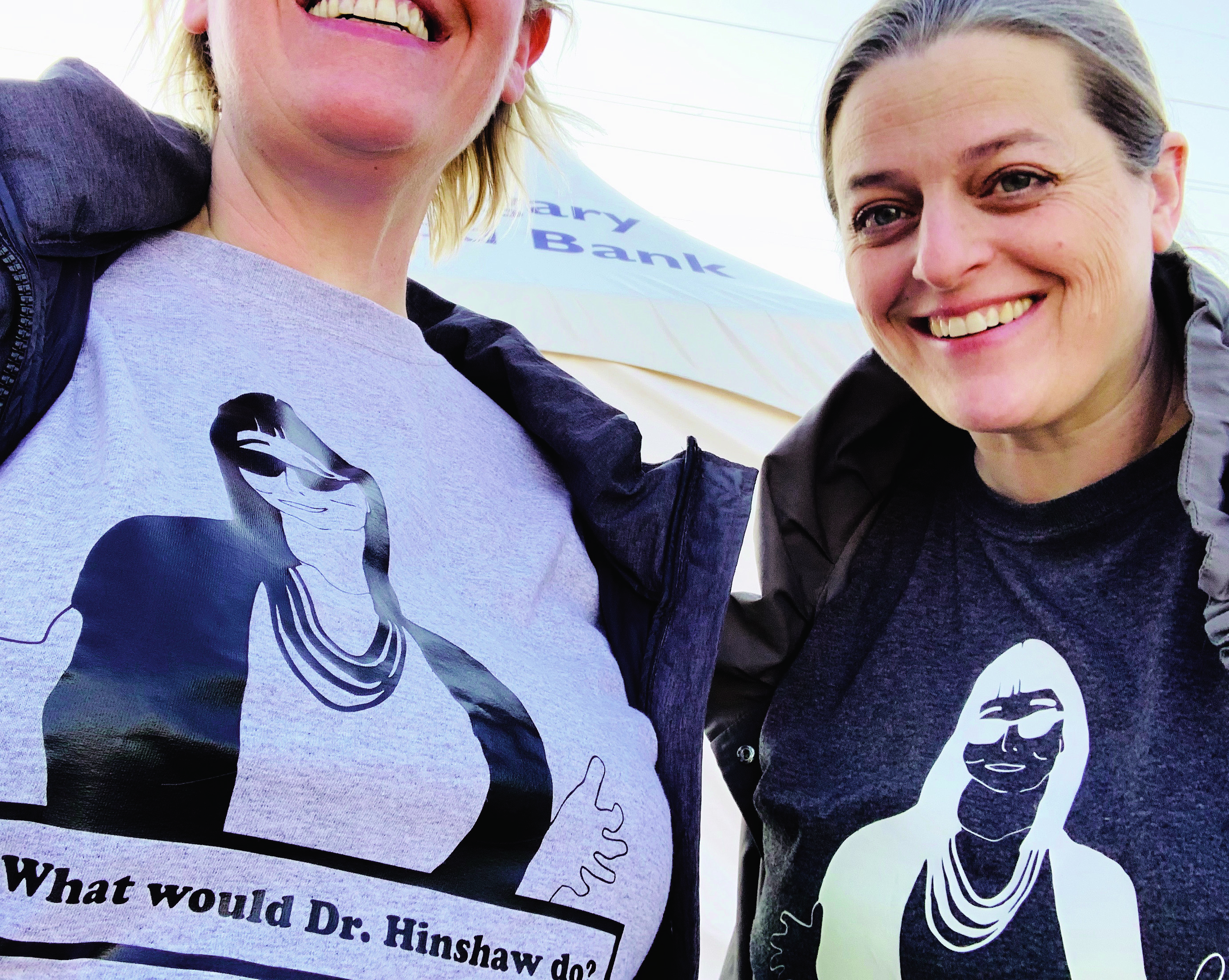 Van Rosendaal (right) was inspired by the leadership of Alberta's chief medical officer of health; a late-night burst of creativity led to her popular 'What would Dr. Hinshaw do?' T-shirts (Courtesy of Julie and Alison Van Rosendaal)