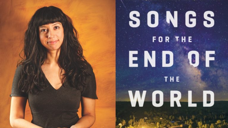 Author Saleema Nawaz, cover of her book Songs for the End of the World