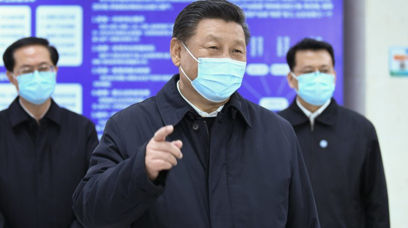 Chinese President Xi Jinping visits an industrial park, which produces high-end auto parts and molds, in Ningbo, east China's Zhejiang Province, March 29. (Yan Yan/Xinhua via ZUMA Wire)