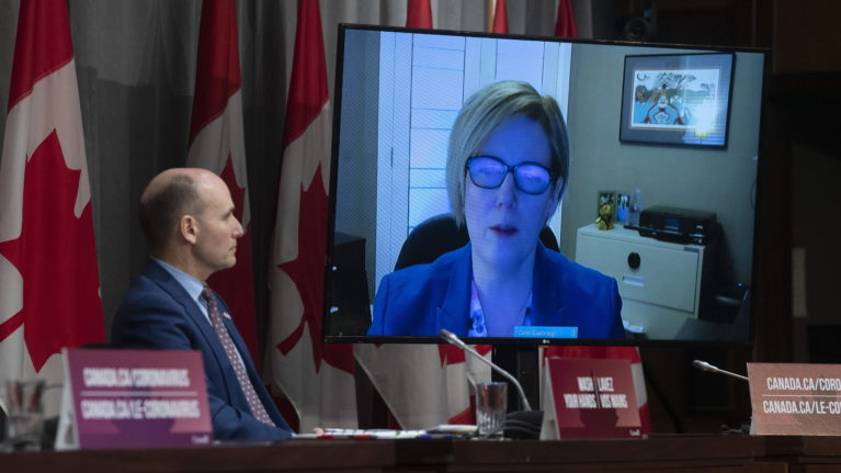 President of the Treasury Board Jean-Yves Duclos looks on as Employment, Workforce Development and Disability Inclusion Minister Carla Qualtrough participates in a daily news conference via video conferencing, Wednesday April 1, 2020 in Ottawa. (Adrian Wyld/CP)