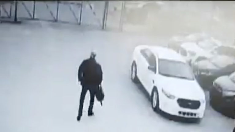 A still from a video showing Gabriel Wortman in the Brinks yard on March 30, 2020.