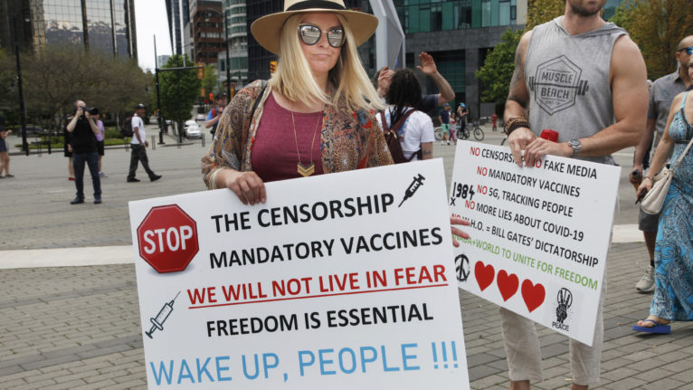 A scene from a protest against a lock down due to the coronavirus in Vancouver on May 10, 2020 (Jen Osborne)