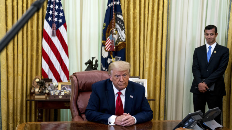 Trump holds a meeting in the Oval Office on July 15, 2020 (Anna Moneymaker/The New York Times/Bloomberg via Getty Images)