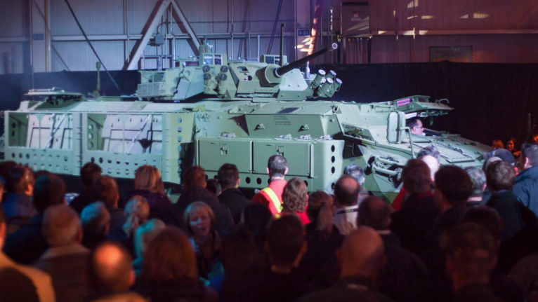The 2012 unveiling of a Light Armoured Vehicle at a General Dynamics facility in London, Ont. An auditor general's report found no consideration of human rights on the part of the federal agency that brokered the deal to sell LAVs to Saudi Arabia (Mark Spowart/CP)