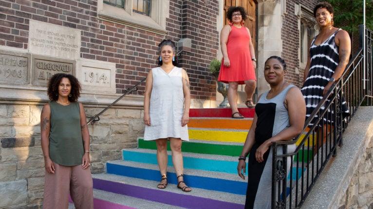 Clockwise from bottom left: Liz Ikiriko, Karina Vernon, Máiri McKenna Edwards, Kara Stewart-Agostino, and Melanie Carrington. (Photograph by Gillian Mapp)