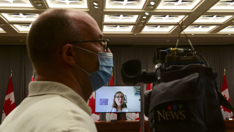 Gould holds a press conference via videoconference on Parliament Hill on Aug. 6, 2020 (CP/Sean Kilpatrick)