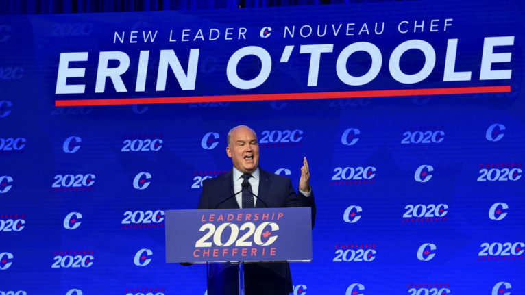 Newly elected Conservative Leader Erin O'Toole delivers his winning speech following the Conservative party of Canada 2020 Leadership Election in Ottawa on Monday, Aug. 24, 2020. THE CANADIAN PRESS/Sean Kilpatrick