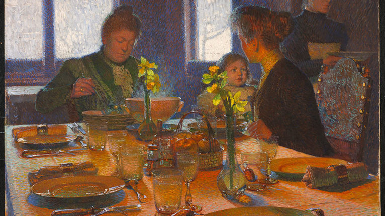 """Carl Moll's """"At the Lunch Table"""", 1901, oil on canvas, 107 x 136 cm. Purchased 2018 (NGC)"""