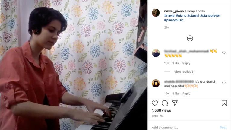 Nawal Talebi playing the piano (nawal_piano/instagram)