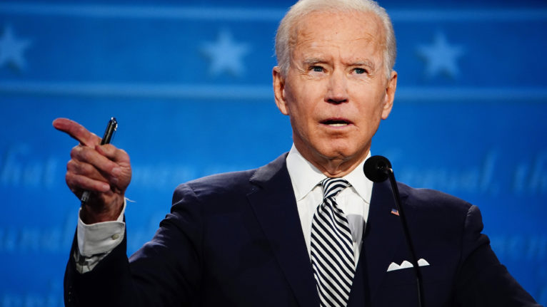 Democratic presidential candidate Joe Biden participates in the first 2020 presidential election debate at Samson Pavilion in Cleveland, Ohio, USA, 29 September 2020. The first presidential debate is co-hosted by Case Western Reserve University and the Cleveland Clinic. (Jim Lo Scalzo/EPA/CP)