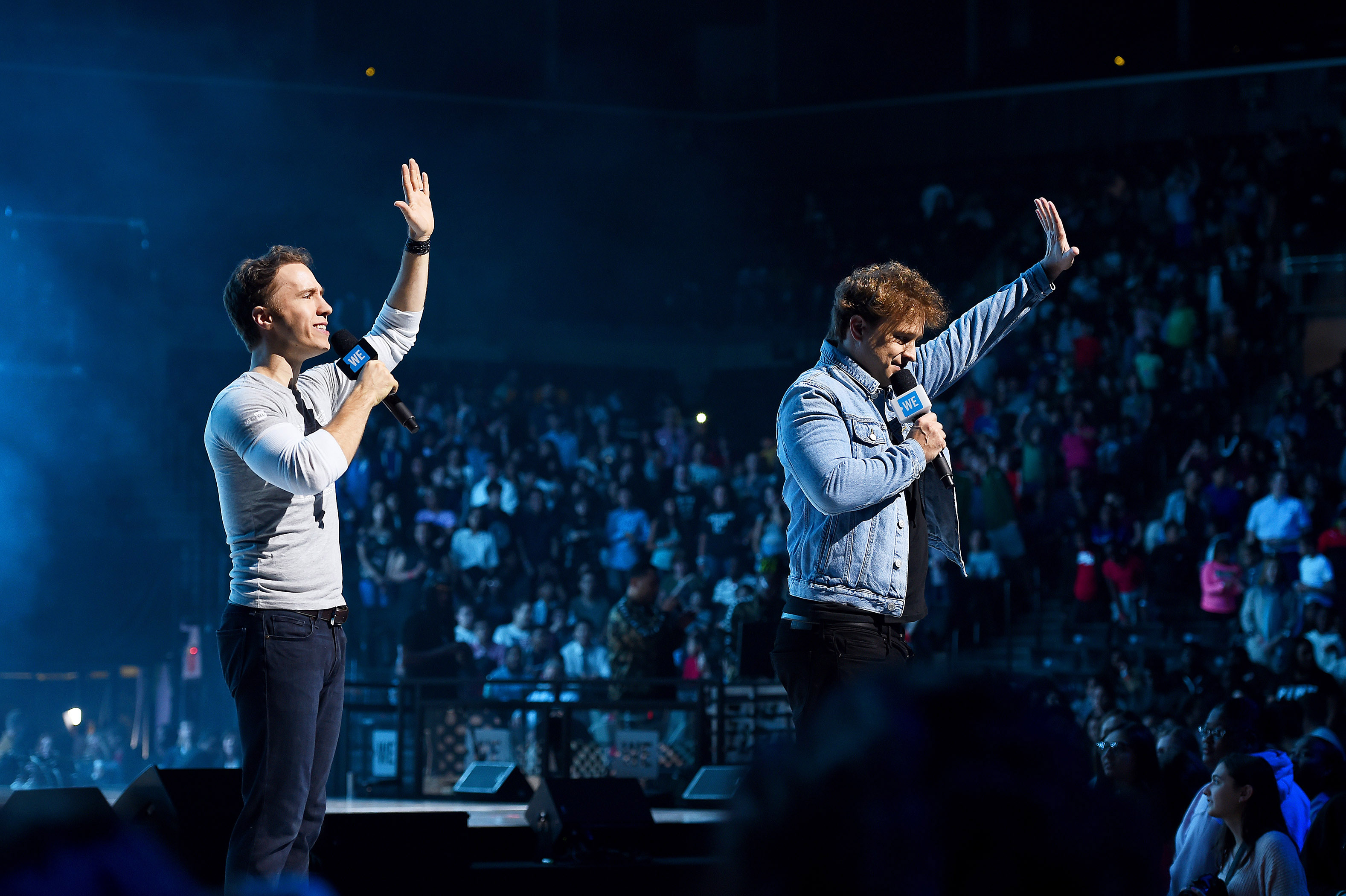 Craig (left) and Marc speak to thousands during WE Day UN in New York City last fall (Ilya S. Savenok/Getty Images)