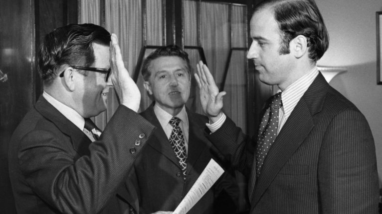 Biden taking his oath at the office of the Secretary of the Senate after his first election to the chamber in 1972. (Bettmann Archive/Getty Images)