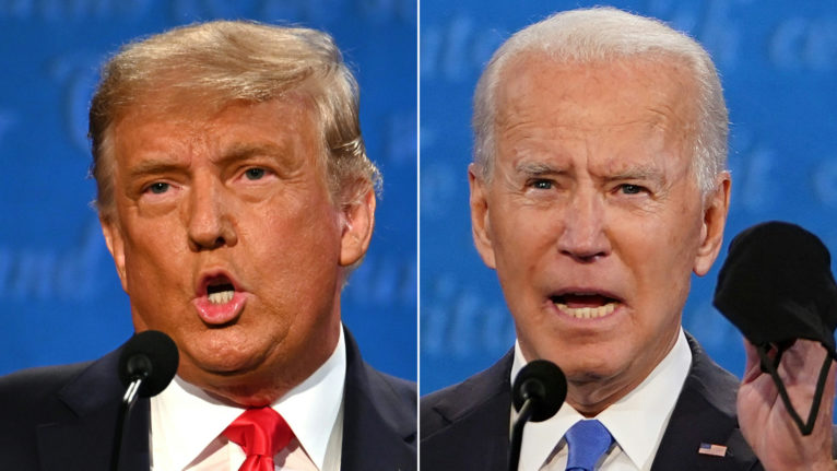Trump and Biden during the final U.S. presidential debate in Nashville, Tenn. (Jim Watson and Brendan Smialowski/AFP/Getty Images)