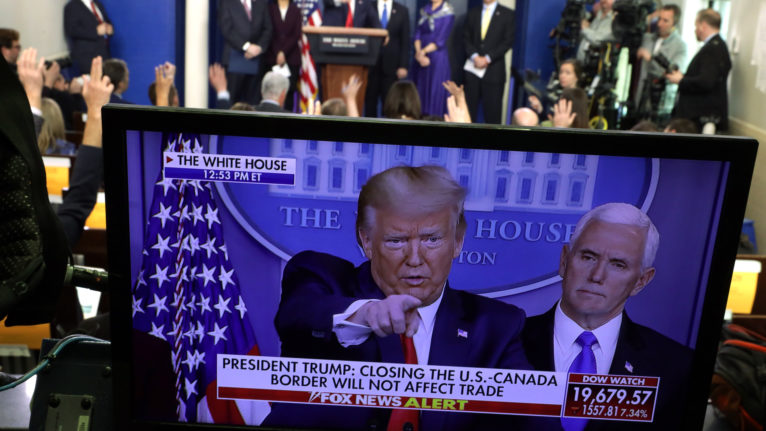 Trump takes questions during a news briefing at the White House on March 18, 2020 (Alex Wong/Getty Images)