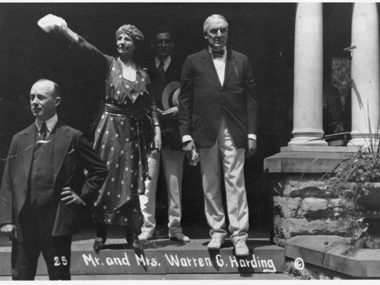 Harding and his wife Florence on the front porch of the Harding house in Marion, Ohio, from which Harding conducted his campaign for the presidency (Library of Congress/Corbis/VCG via Getty Images)