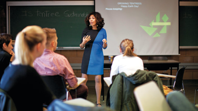 Professor Ana Marie Peredo, teaches students about sustainable entrepreneurship and international business at the Peter B. Gustavson School of Business at the University of Victoria. (Photograph by Chad Hipolito)
