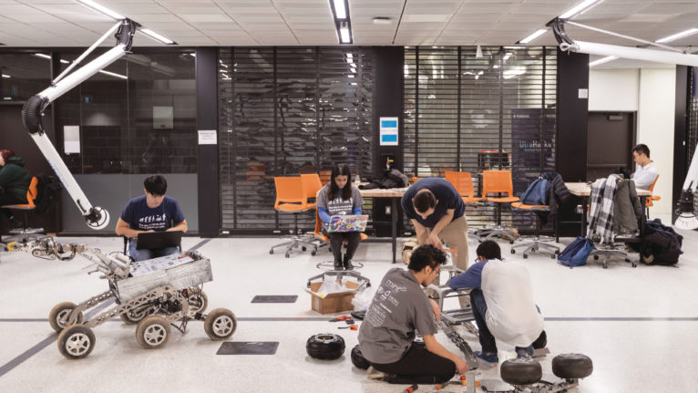 Students at the Myhal Centre for Engineering, Innovation and Entrepreneurship. (Courtesy of Nick Iwanyshyn/University of Toronto)