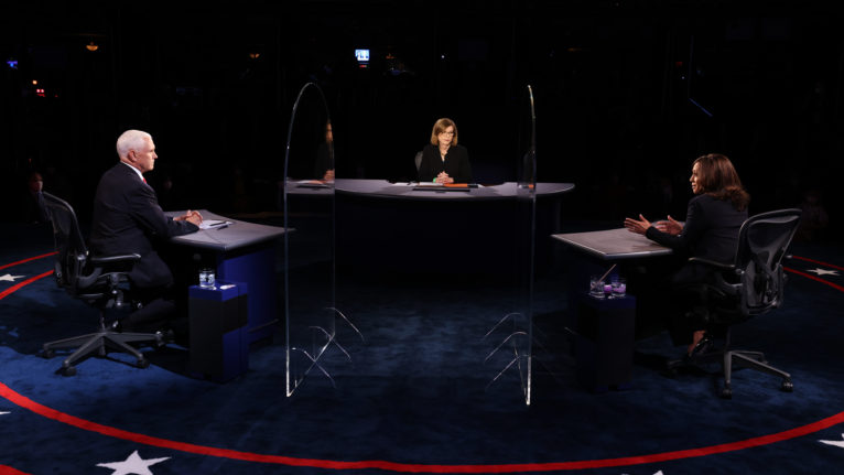 Democratic vice presidential nominee Sen. Kamala Harris (D-CA) and U.S. Vice President Mike Pence participate in the vice presidential debate moderated by Washington Bureau Chief for USA Today Susan Page (C) at the University of Utah on October 7, 2020 in Salt Lake City, Utah. The vice presidential candidates only meet once to debate before the general election on November 3. (Justin Sullivan/Getty Images)