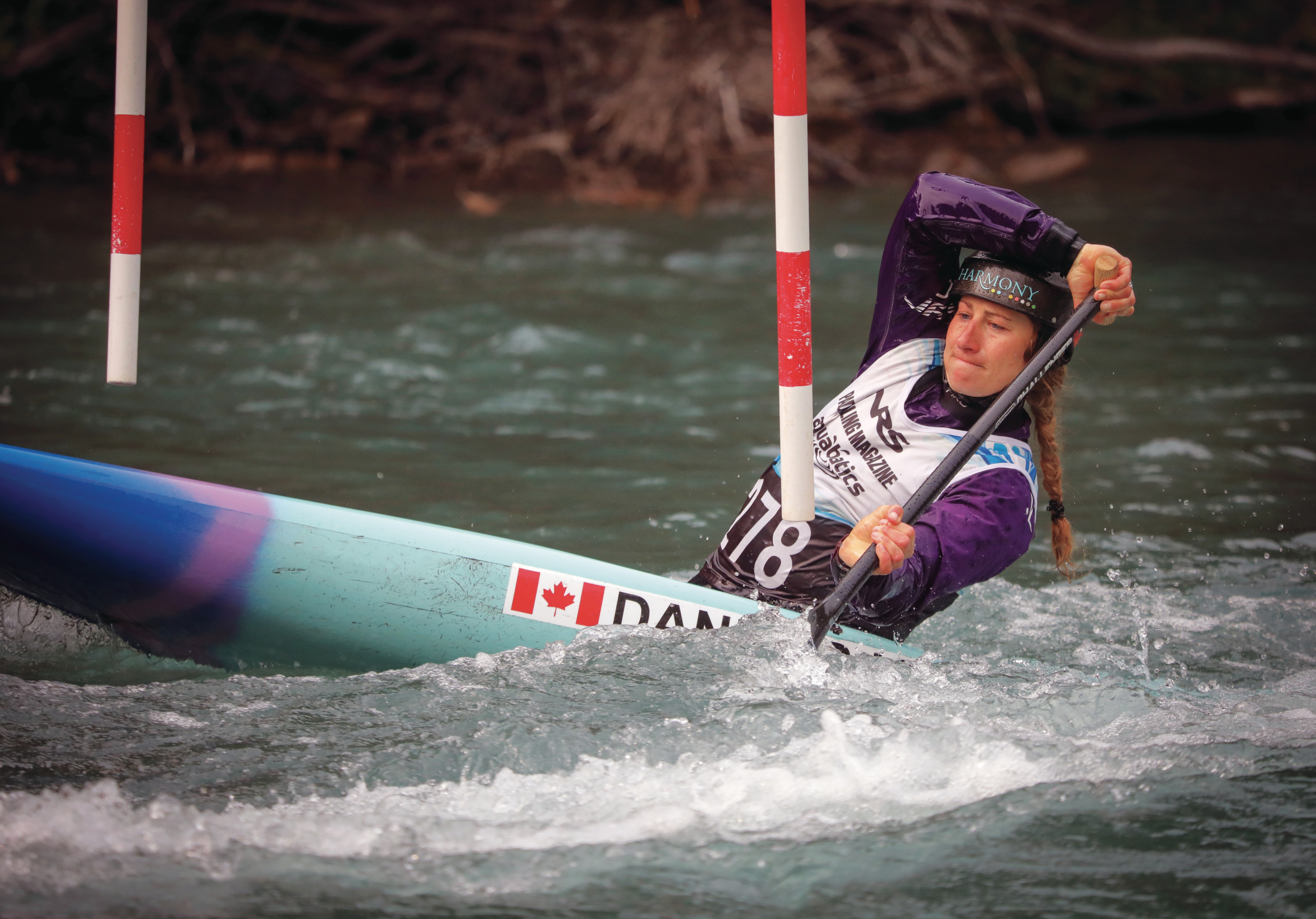 Haley Daniels competes on Sept. 13, 2020, during the Alberta slalom canoe kayak championships in Kananaskis. (Photograph by Leah Hennel)