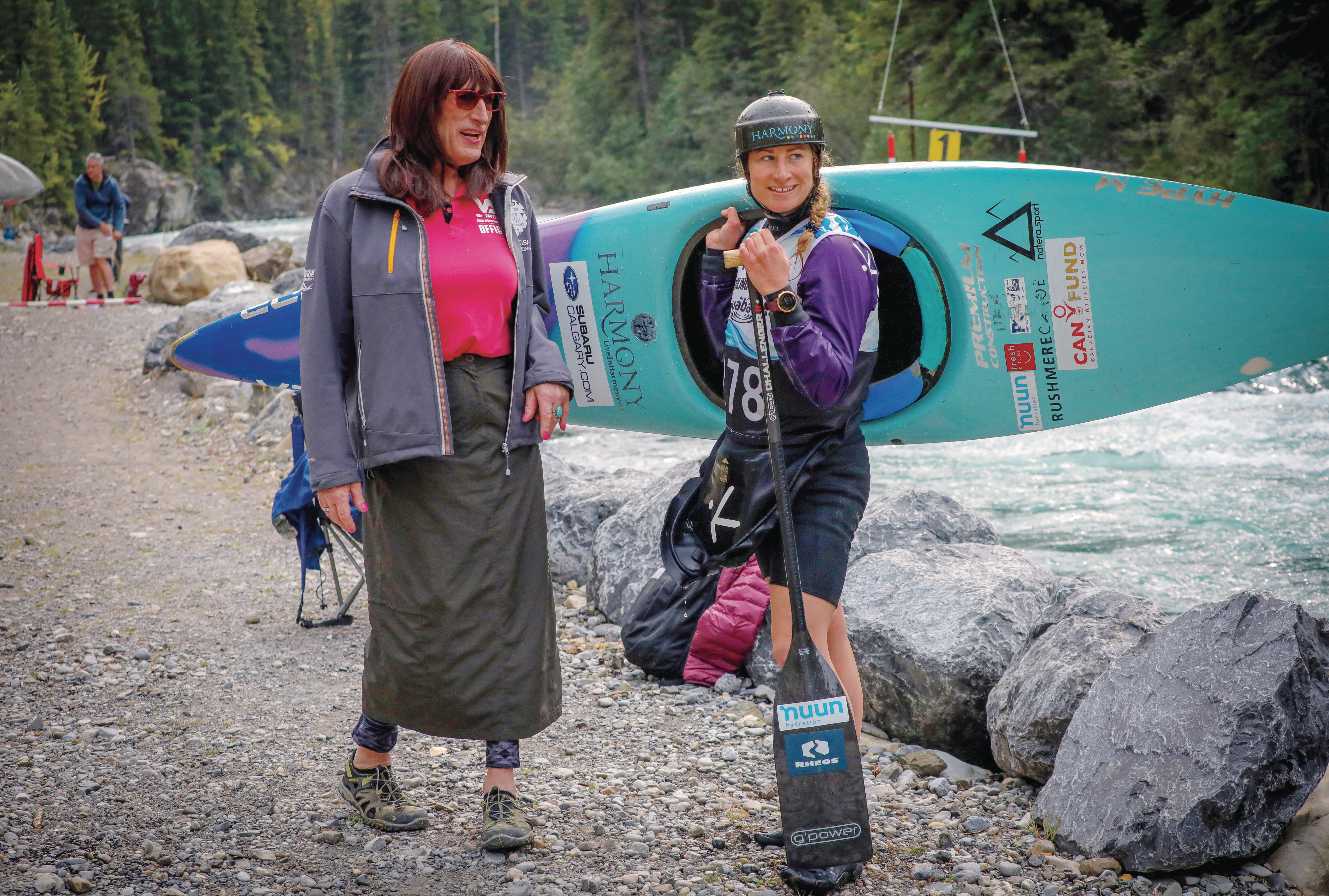 Kimberley Daniels and daughter Haley Daniels during the Alberta slalom canoe kayak championships in Kananaskis (Photograph by Leah Hennel)