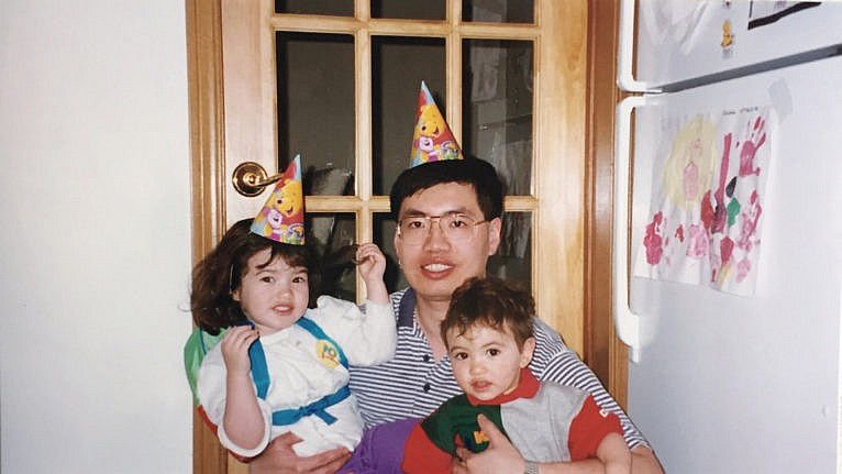 The family celebrate Christina's third birthday in 1998. (Courtesy of the Chan family)