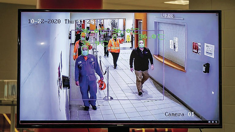 Workers are screened for COVID-19 as they enter the Toyota plant in Cambridge, Ont.(Courtesy of Toyota Canada)