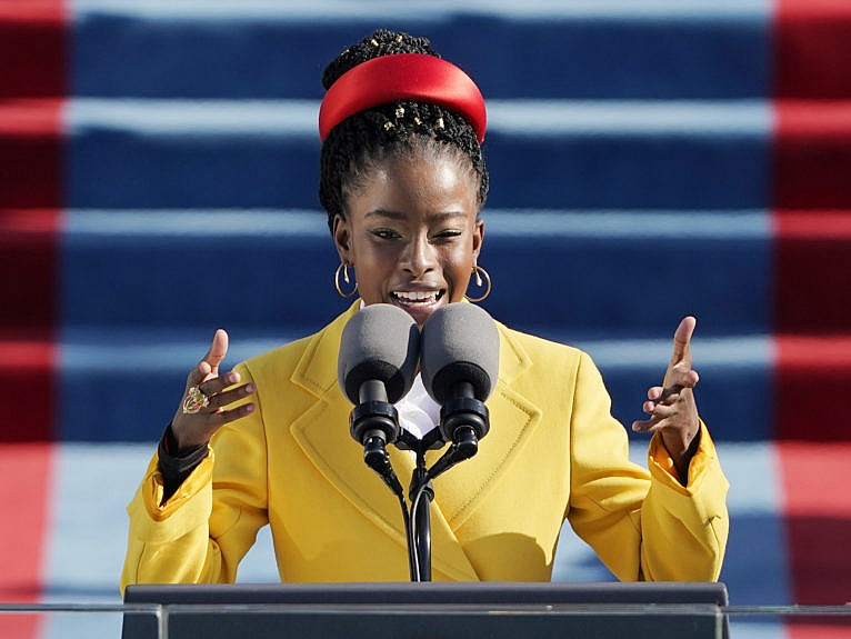 American poet Amanda Gorman reads a poem during the 59th Presidential Inauguration at the U.S. Capitol in Washington, Wednesday, Jan. 20, 2021. (Patrick Semansky/AP/CP)