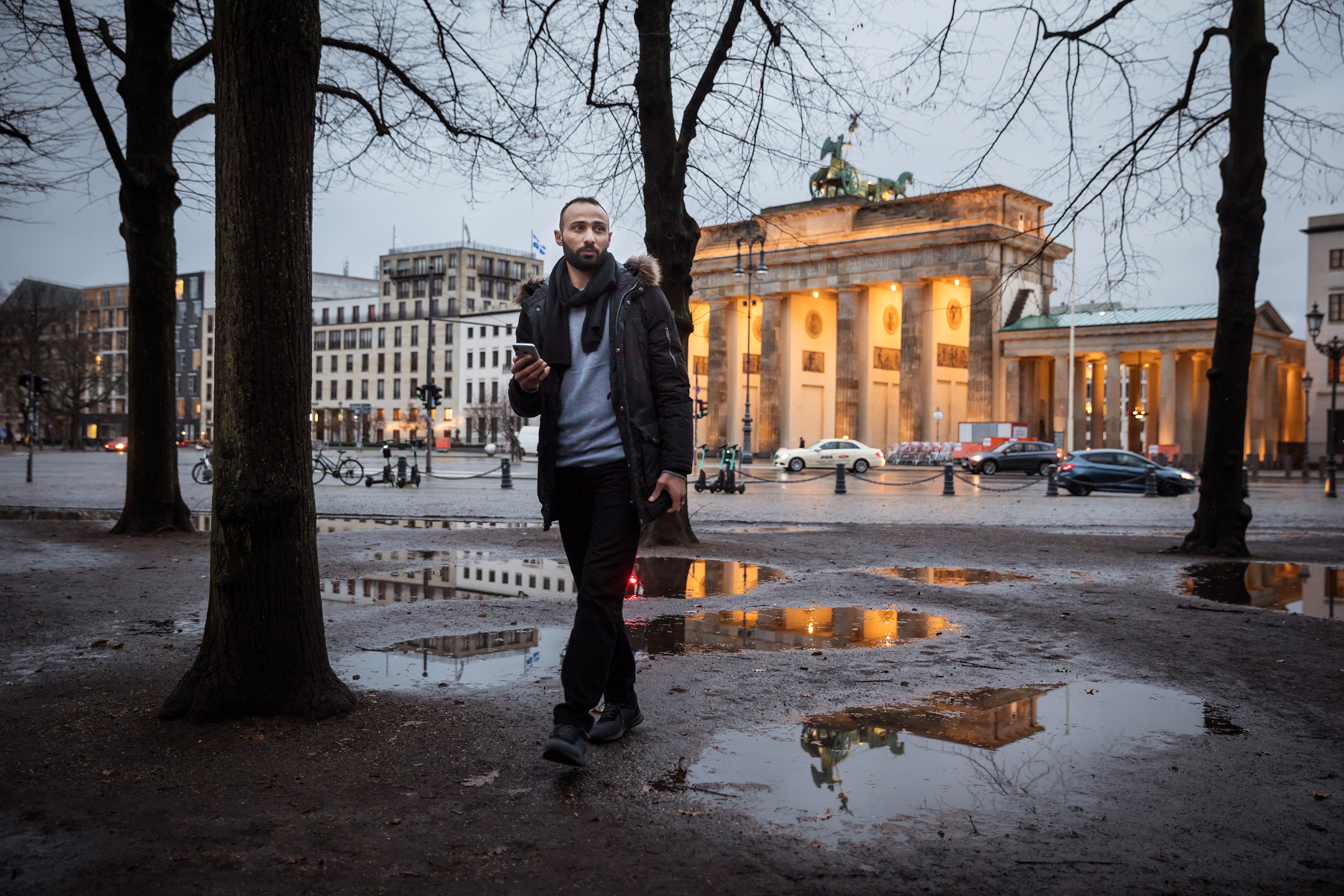 Alzaher in Berlin; after getting a job offer, he waited two months for his approval to work (Gordon Welters)
