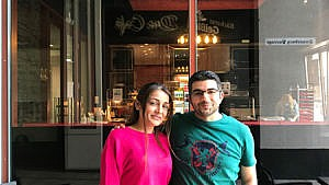 Shmayess (right) left Syria for Görlitz, Germany, in 2015; his wife, Ammar, joined him a year later and the couple recently opened a restaurant (Photograph by Sadiya Ansari)
