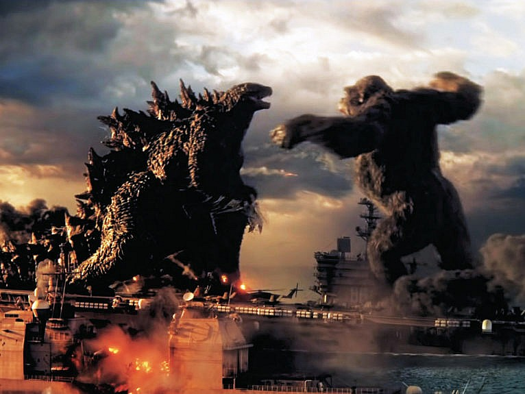 (From left) Godzilla, Kong, in a still from the forthcoming 2021 film (HBO Max/Everett Collection)