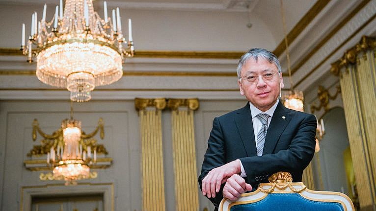 The 2017 Nobel Literature Prize laureate, British writer Kazuo Ishiguro, poses prior to a press conference on December 6, 2017 in Stockholm.