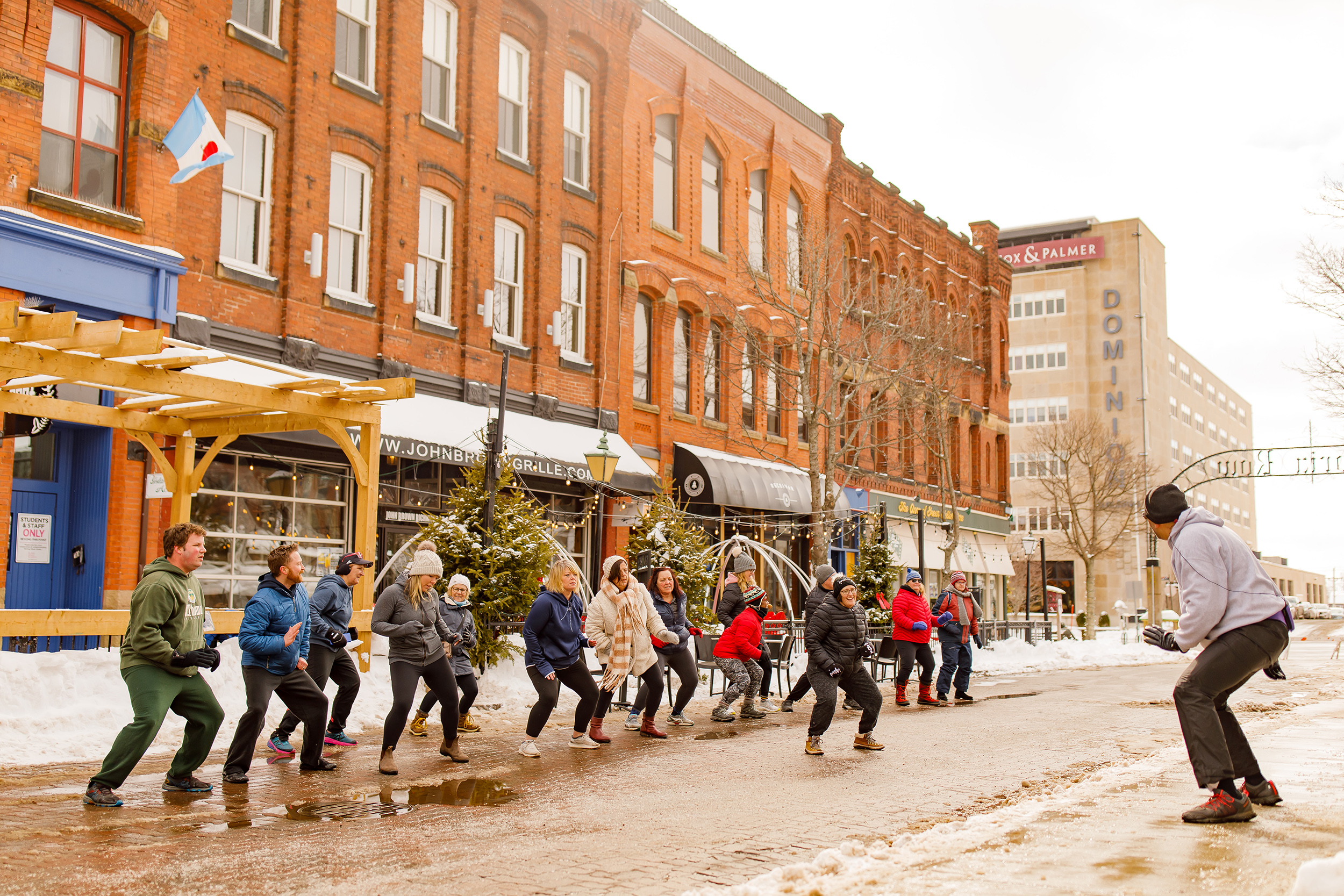 Charlottetown residents take part in a free outdoor fitness class; the city scored well in the community engagement category of our ranking (Courtesy of DiscoverCharlottetown.com)