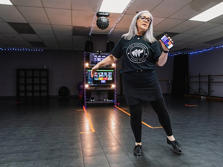 Owner of The Workshop Dance Studio, Nancy Morgan, gives a tap dance class via video in Kemptville Ontario, February 27 2021 (Photograph by Kaja Tirrul)