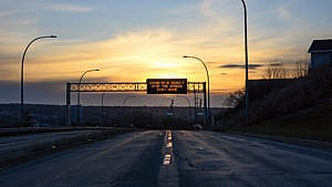 A message board over a highway in Halifax on Tuesday, April 21, 2020. (Darren Calabrese)