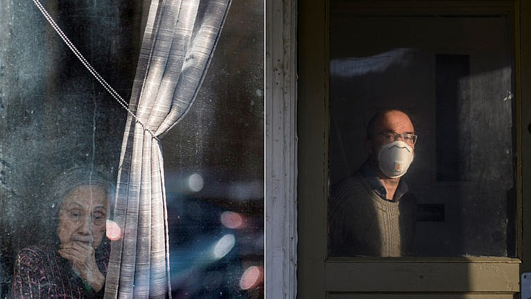 (L): A resident identified as Flora looks on after receiving blessing and absolution from priest David Sherry (not pictured) at Orchard Villa Retirement Residence after several residents died of the coronavirus disease (COVID-19) in Pickering, Ontario, Canada April 25, 2020. (Carlos Osorio/Reuters); (R): Garry Williams poses at his home in Halifax during a two-week self-isolation early in the pandemic on Saturday, March 28, 2020 following his return from Germany. (Darren Calabrese)