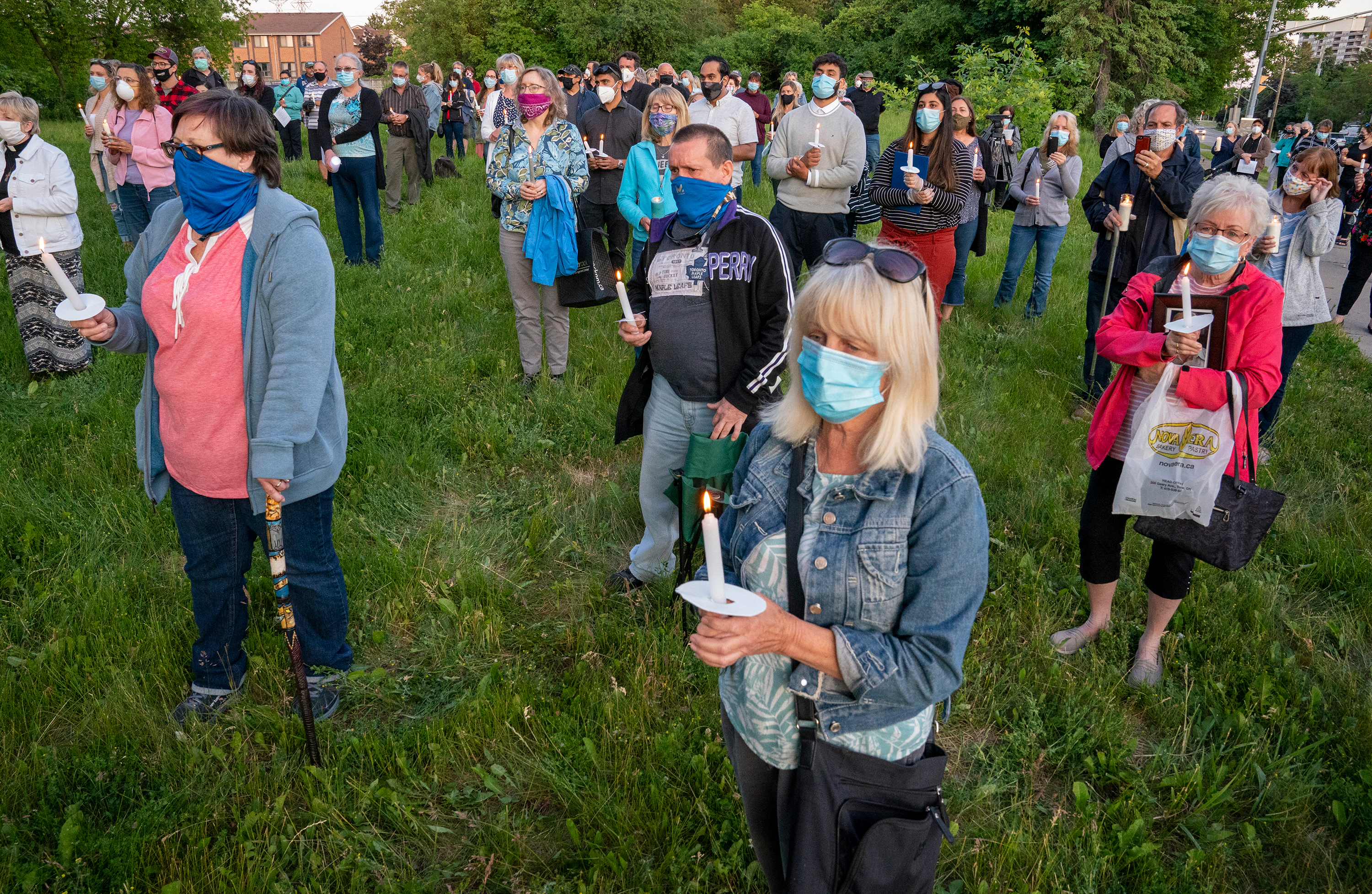 Residents of Orchard Villa Long Term Care Home who died in the COVID-19 outbreak are remembered at a vigil on June 15, 2020 (Frank Gunn/CP)