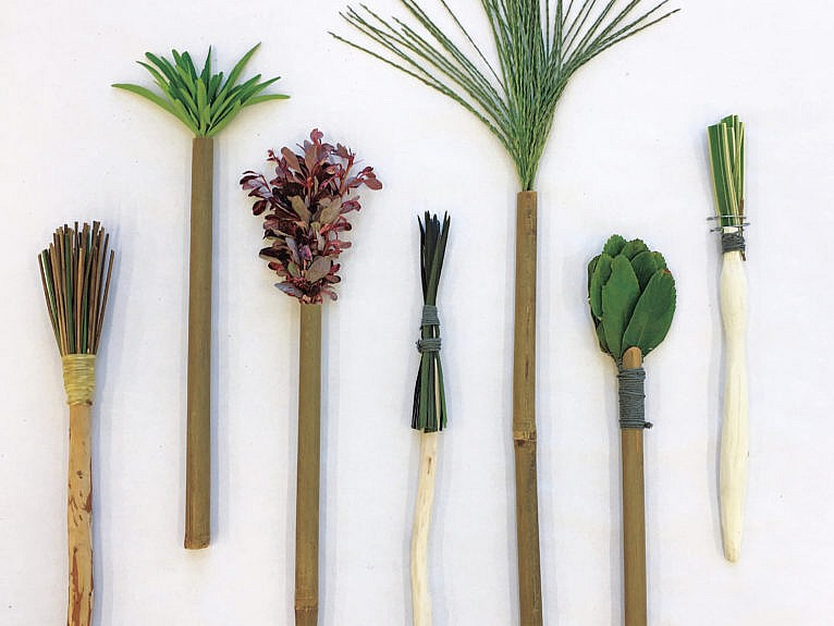 Emily Carr Associate Professor, Mimi Gellman created homemade, plant-material brushes made from found materials. (Mimi Gellman and Yaaz Pillay)
